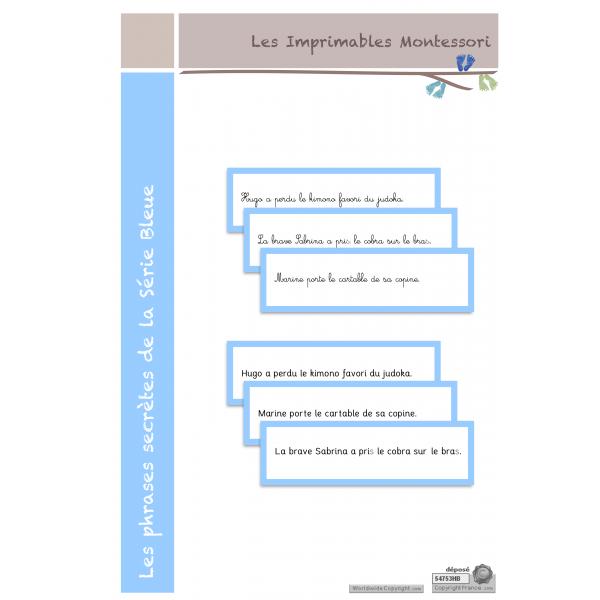 Les phrases secrètes de la Série Bleue SCRIPT