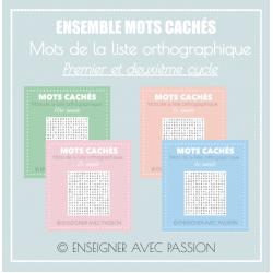 Mots cachés - Liste orthographique (1 et 2 cycles)