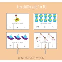 Cartes à tâche - Les chiffres (1 à 10)