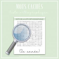 Mots cachés - liste orthographiques (2e année)