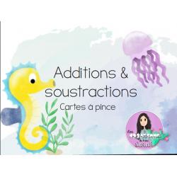 Cartes à pince : Additions et soustractions