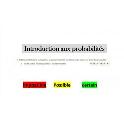 Les probabilités (impossible, possible, certain)
