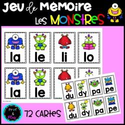 Jeu de mémoire - Les monstres