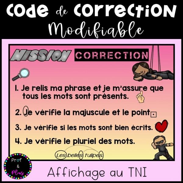 Écriture - Code de correction MODIFIABLE