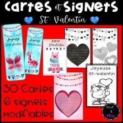 Signets MODIFIABLES et cartes - Saint-Valentin