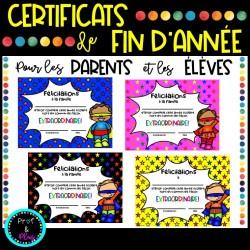 Certificats de fin d'année pour parents et élèves
