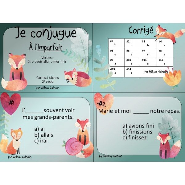 Cartes à tâches: je conjugue à l'imparfait
