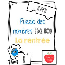 Puzzle des nombres (1à10) - Thème de la rentrée