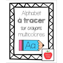 Alphabet à tracer - Crayons multicolores