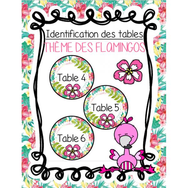 Identification des tables - Flamant rose