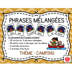 Atelier de phrases mélangées - Camping