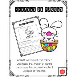 Phrases de Pâques - Colorie, lis, trace et écris