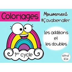 Coloriages arc-en-ciel Les additions et doubles