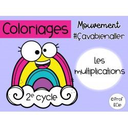 Coloriages arc-en-ciel Les multiplications