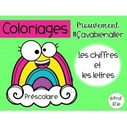 Coloriages arc-en-ciel (Chiffres et lettres)