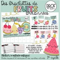 Des brochettes de fruits ordonnées (2 niveaux)