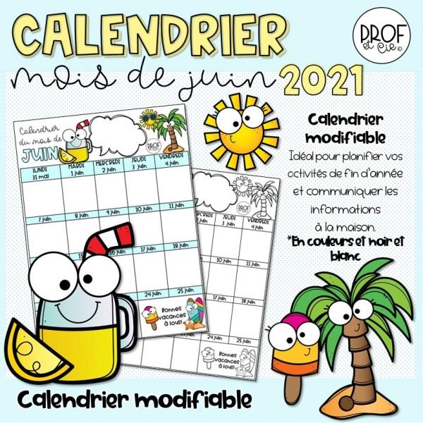 Calendrier modifiable juin 2021