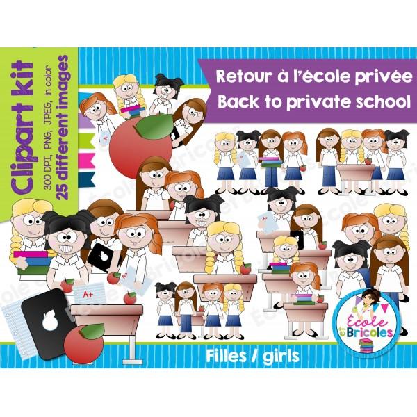 Clipart-Retour à l'école privée (filles)