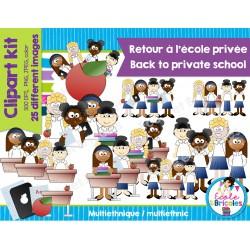 Clipart-Retour à l'école privée (filles ethnies)