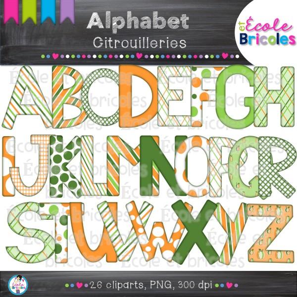 Alphabet citrouilleries (clipart)