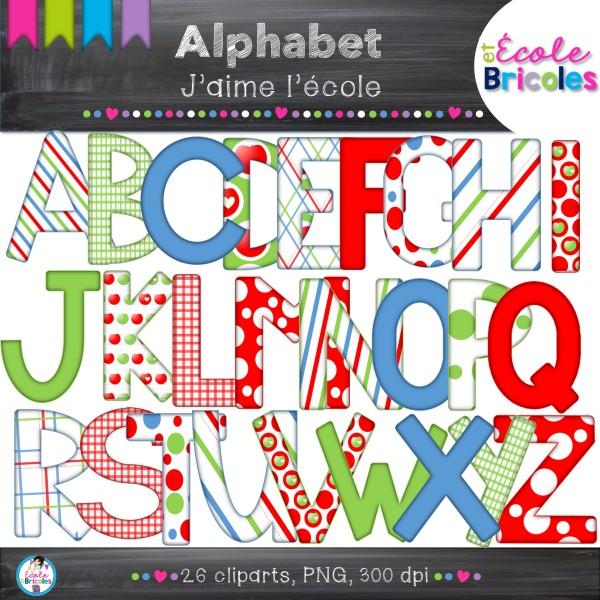 Alphabet- Docudéco J'aime l'école (clipart)