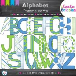 Alphabet-Docudéco Pomme verte (clipart)