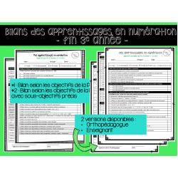 Bilans des apprentissages- Numération fin 3e année