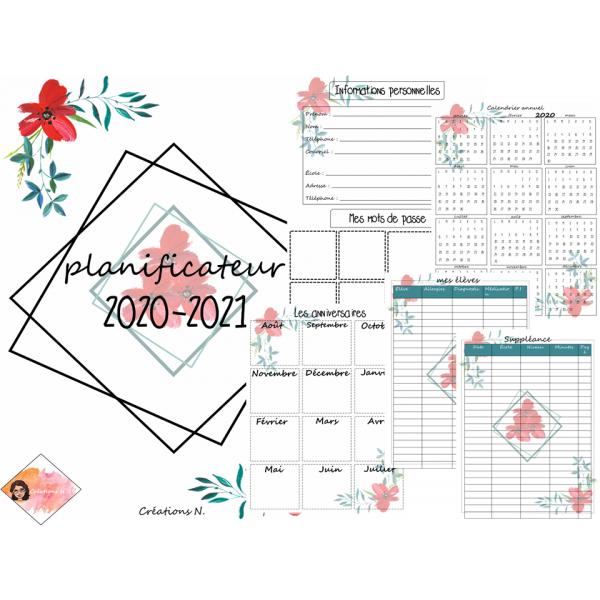 Planificateur/Agenda 2020-2021