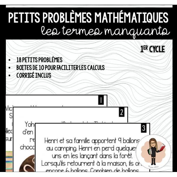 Petits problèmes mathématiques - TERMES MANQUANTS
