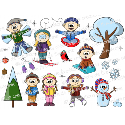 Clipart personnages hiver