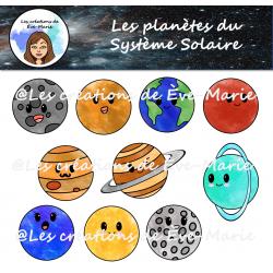 Clipart - Planètes mignonnes