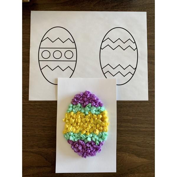 Oeuf de Pâques en papier bouchonné