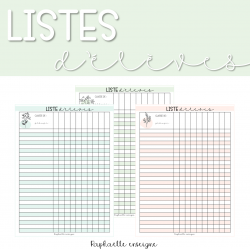 Listes d'élèves - pastel