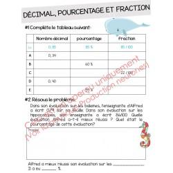 Exercice décimal, pourcentage et fraction
