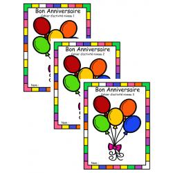 cahier d'activité niveau 1 à 3 , anniversaire