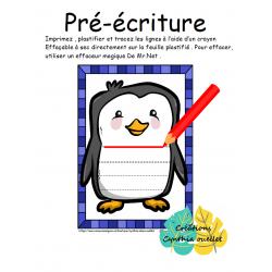 pré-écriture pingouin hiver