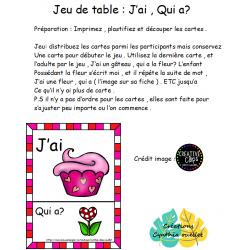 jeu de table : J'ai , qui a ? ( st-valentin )