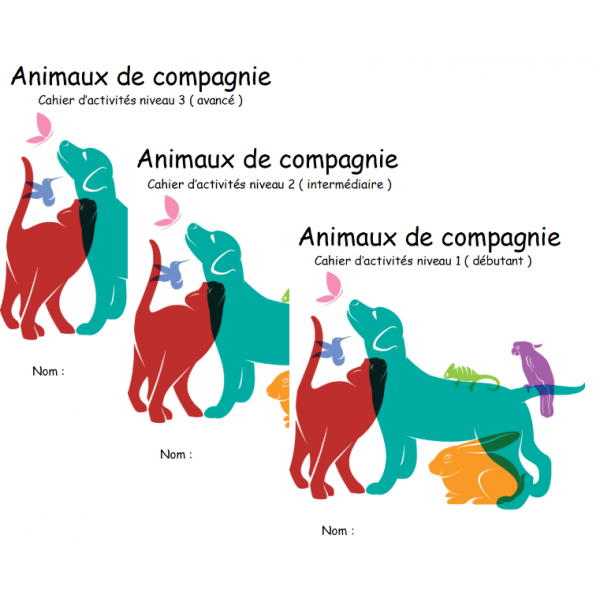pack écono cahier d'activité animaux de compagnie