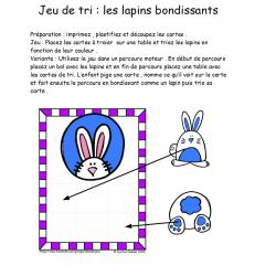 jeu de tri , les lapins rebondissants