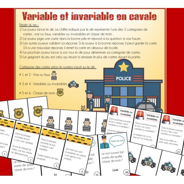 Variable et invariable en cavale - Classe de mots