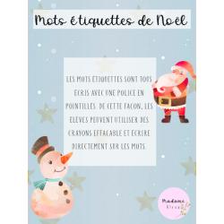 Mots étiquettes de Noël, préscolaire et 1er cycle
