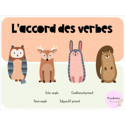 Cartes à tâches « Accord des verbes », 3e cycle.
