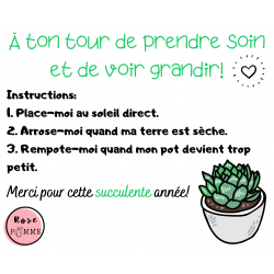 Message pour plantes/succulentes à offrir