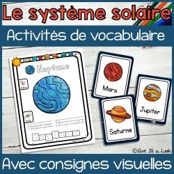 Le système solaire, activités de vocabulaire