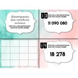 cartes à tâches décomposer un nombre entier