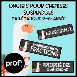 Onglets pour chemises suspendues