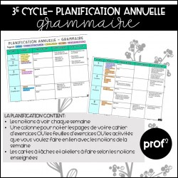 3E CYCLE- Planification annuelle en grammaire
