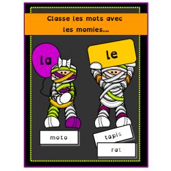Classe les mots avec les momies...