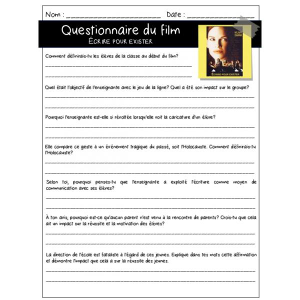 Écrire pour exister- Questionnaire ECR