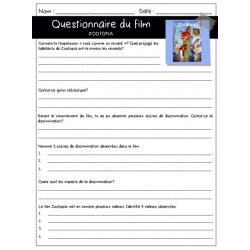 Zootopia - Questionnaire de film - ECR